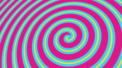 Blue, Pink and Yellow Hypnotic Spiral Animation Animation