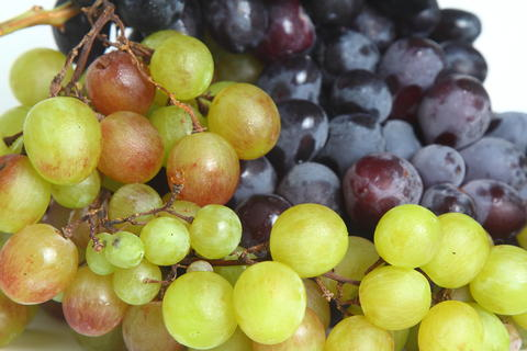 Black and green delicious grapes on a white plate close up フォト
