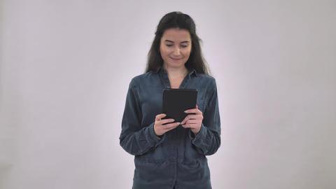 Caucasian happy female use digital device Live Action