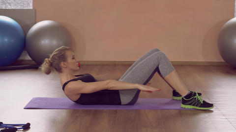 attractive girl doing physical exercises for core ライブ動画