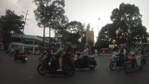A slowmotion of traffic jam at the downtown in Ho Chi Minh Acción en vivo