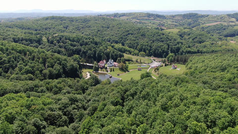 Kaona Monastery, Serbia. Aerial of Christian Orthodox Monument and Landscape ライブ動画