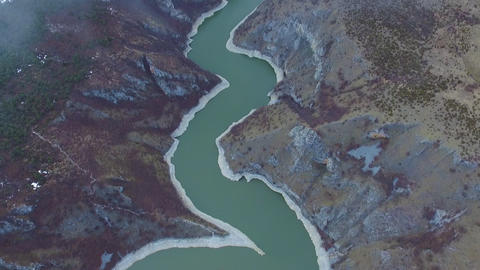 Uvac River Gorge, Serbia, Cinematic Aerial View of Nature Reserve and Canyon ライブ動画