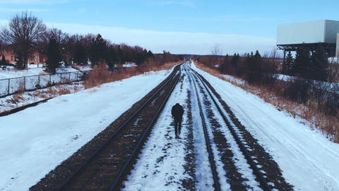 Photo of Man Walking On Railroad During Winter ライブ動画