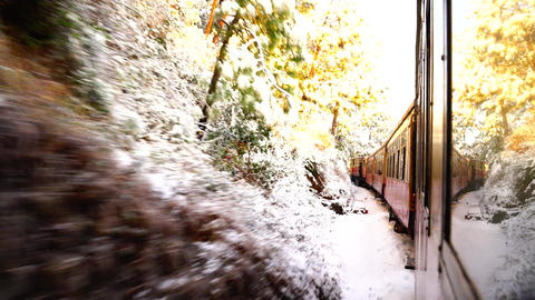 Train Traveling On The Mountainside In Winter ライブ動画