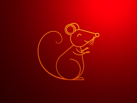 Golden Rat with smile, symbol of Chinese New Year 2020. Outline Rat Sign, festive Golden Mouse Vector