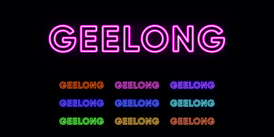 Neon Geelong name, city in Australia. Neon text of Geelong city Vector
