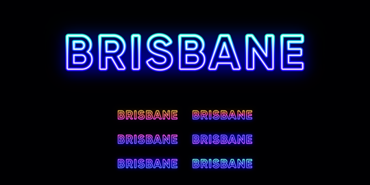 Neon Brisbane name, city in Australia. Neon text of Brisbane city Vector