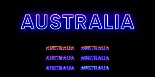 Neon Australia name, country in Oceania. Neon text of Australia Vector
