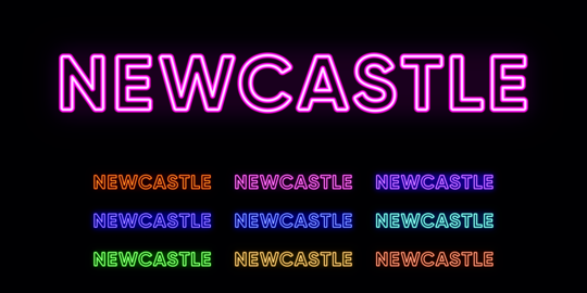 Neon Newcastle name, city in Australia. Neon text of Newcastle city Vector