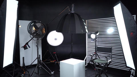 Modern photo studio with professional lighting equipment Dark room cyclorama 3 Live Action