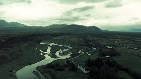Thingvellir National Park, Iceland. Beautiful aerial view on a cloudy summer day Live Action
