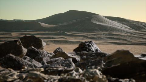 Aerial view on big sand dunes in Sahara desert at sunrise GIF