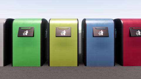 Bin Recycle plastic Colored boxes waste sorting metal glass bulbs organic ライブ動画