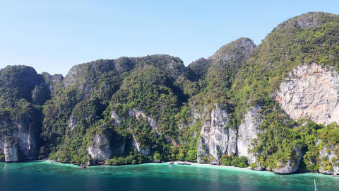 Amazing aerial view of Monkey Beach in Phi Phi Islands, Thailand GIF