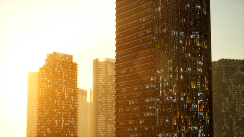sunset aerial shot of skyscrapers of business centre Acción en vivo