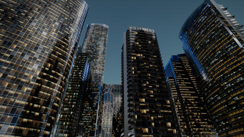 city skyscrapers at night with dark sky Acción en vivo