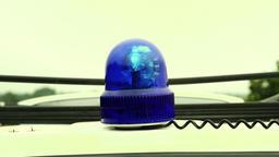 Rotating Blue Color Emergency Flashing Light Footage