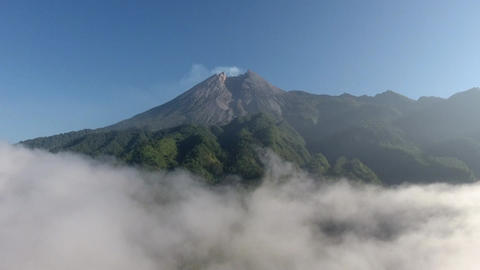 Aerial Drone Shot Landscape Volcano Merapi Morning Cloudy ライブ動画