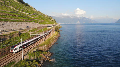 Electric Train For Transportation In Switzerland Countryside Live Action