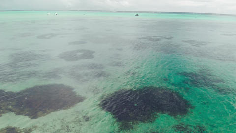 Aerial view from drone of Benitiers Island, Mauritius GIF