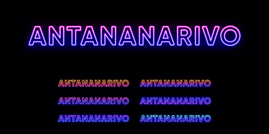 Neon Antananarivo name, City in Madagascar. Neon text of Antananarivo city. Vector set of glowing Vector