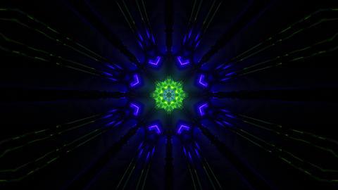 Flower Neon Light in Kaleidoscopic Dark Tunnel 3d rendering vj loop Animation