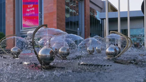 Beautiful fountain at the entrance of Mall of Qatar In Doha Qatar Live Action