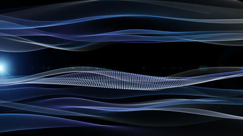 Futuristic video animation with moving wave object and lights, loop HD CG動画