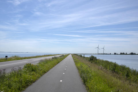 Windmills In The Distrance At Marken At The IJselmeer The Netherlands 6-8-2020 フォト