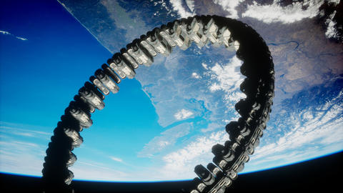 futuristic space station on Earth orbit Live Action