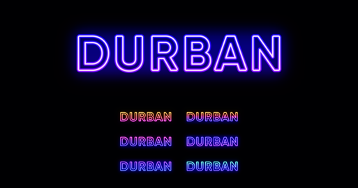 Neon Durban name, City in South Africa. Neon text of Durban city. Vector set of glowing Headlines Vector