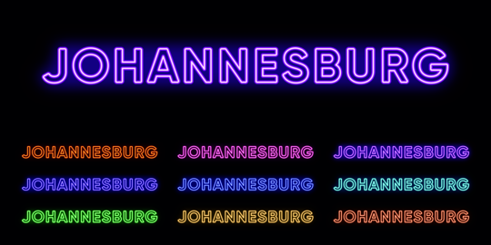 Neon Johannesburg name, City in South Africa. Neon text of Johannesburg city. Vector set of glowing Vector