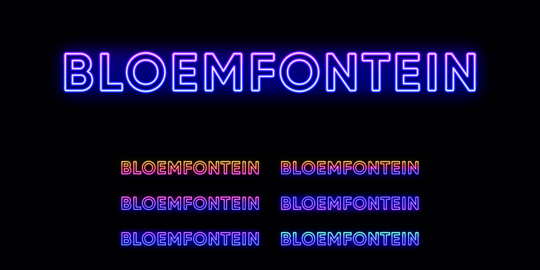Neon Bloemfontein name, City in South Africa. Neon text of Bloemfontein city. Vector set of glowing Vector