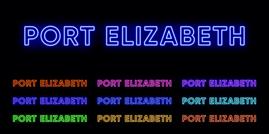 Neon Port Elizabeth name, City in South Africa. Neon text of Port Elizabeth city. Vector set of Vector