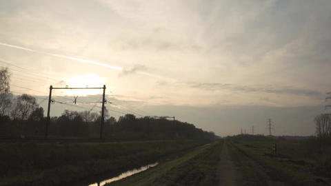 A Bullet Train For Transportation Speeding On A Railroad Live Action