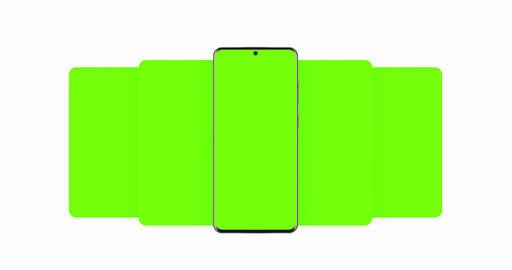 Smartphone with blank green sliding app screens isolated on white background Animation