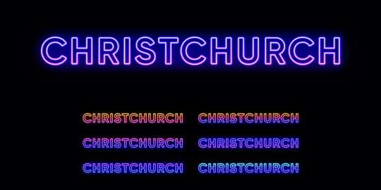 Neon Christchurch name, city in New Zealand. Neon text of Christchurch city Vector