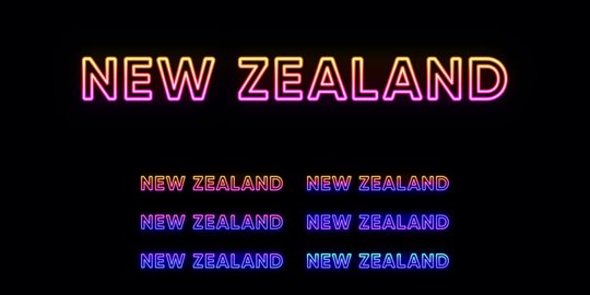 Neon New Zealand name, country in Oceania. Neon text of New Zealand Vector