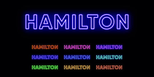 Neon Hamilton name, city in New Zealand. Neon text of Hamilton city Vector