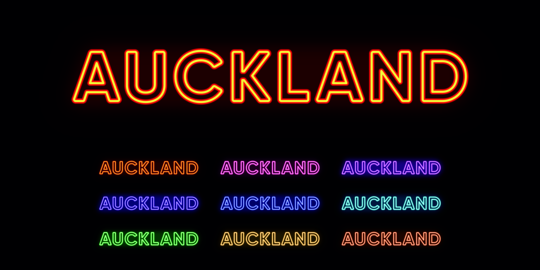 Neon Auckland name, city in New Zealand. Neon text of Auckland city Vector