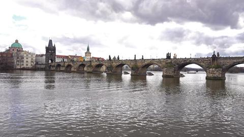 Prague Charles bridge with water wide ライブ動画