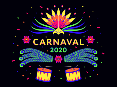 Holiday banner of Carnaval 2020, spanish text. Vector illustration of carnival and festival in Vector
