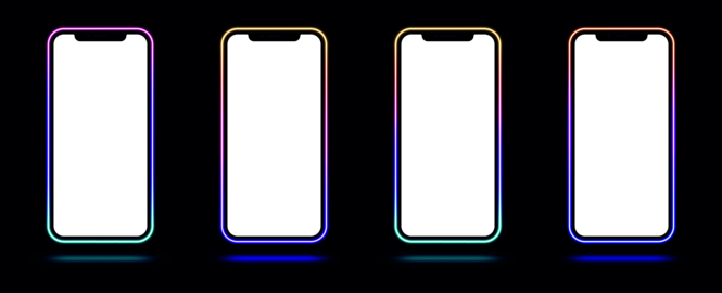 Phone mockup with gradient neon border. Modern set of cellphone templates with creative colorful ベクター