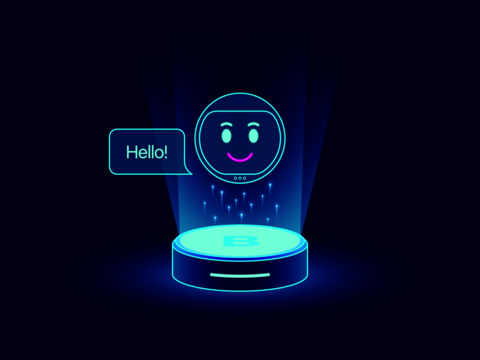 Cute chat bot, virtual voice assistant. Mobile chatbot with function of Machine learning, Smart home ベクター