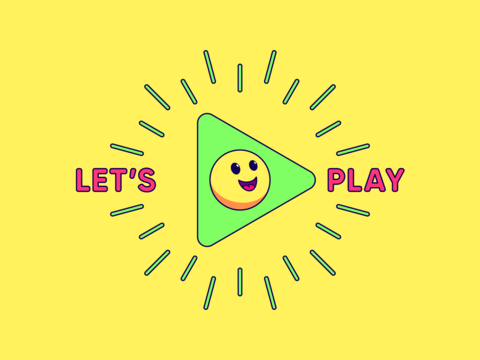 Lets play, cartoon composition with play sign surrounded rays, cheerful emoji and slogan text Vector