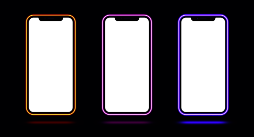 Phone mockup with neon border, red pink purple color. Modern set of phone templates with creative ベクター