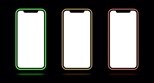 Phone mockup with neon border, green yellow orange color. Modern set of phone templates with ベクター