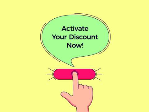 Call to action with text Activate Your Discount Now. Cartoon human hand push the button by Vector