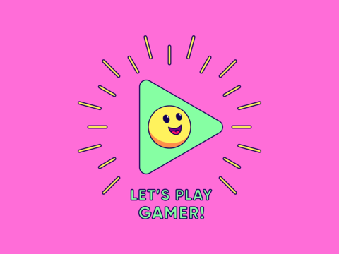 Lets play Gamer, cartoon composition with play sign surrounded rays, cheerful emoji and slogan text Vector